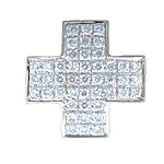 Cruz - oro blanco con diamantes - 3000356